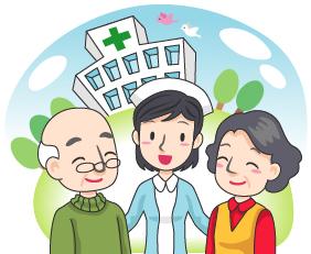 요양병원 앞에 어르신과 간호사들의 모습